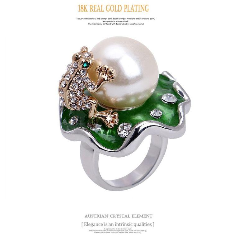 Vivid Sapo verde Com 16mm Pérola Em Lótus 18 k Banhado A Ouro Anel de Cristal Austríaco