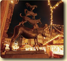 Bremen City Musicians Statue and Christmas In Germany . Spent my Christmas here one year was awesome :)