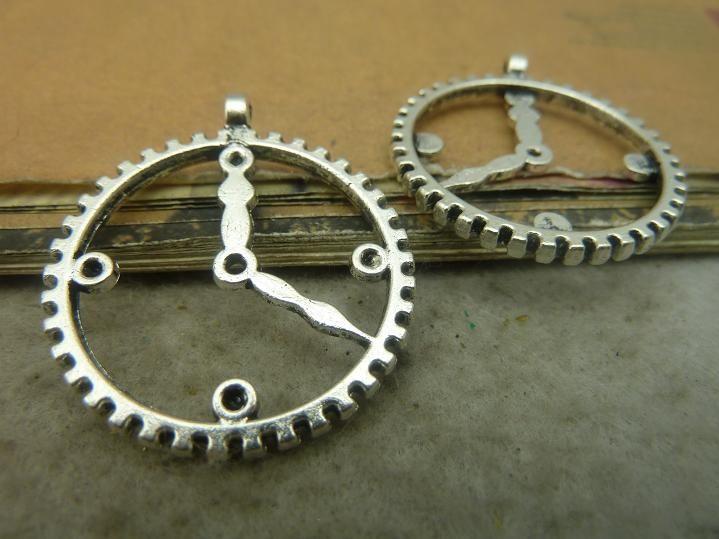 20 шт. 30 * 34 мм античные серебряные часы передач очарование кулон Jewlery чая