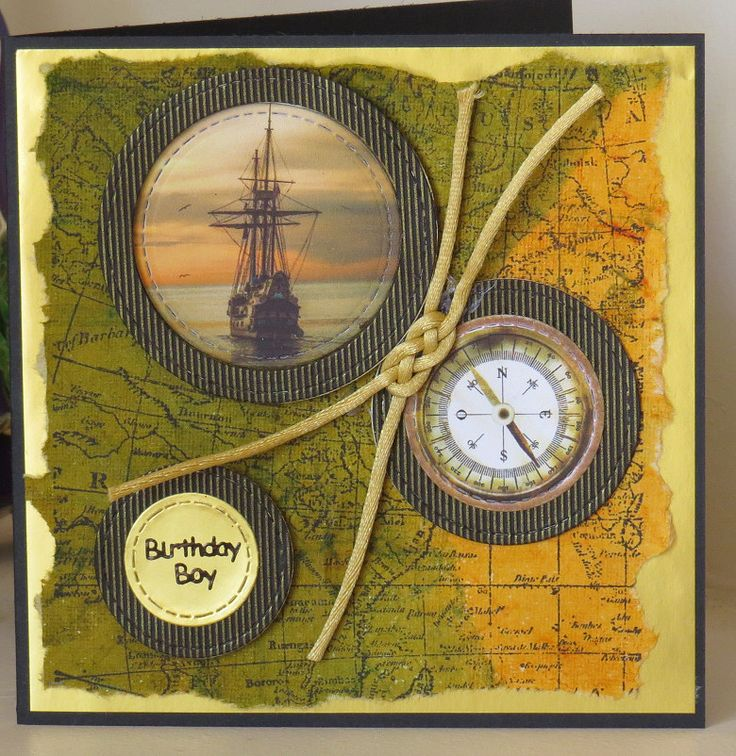 Stamped map background with circle die cut ship and knotted embellishment.