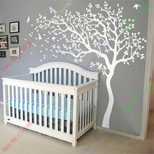 Huge White Tree Wall Decal Nursery Tree and Birds Wall Art Baby Kids Room Wall Sticker Nature Wall Decor 213X210CM(China (Mainland))