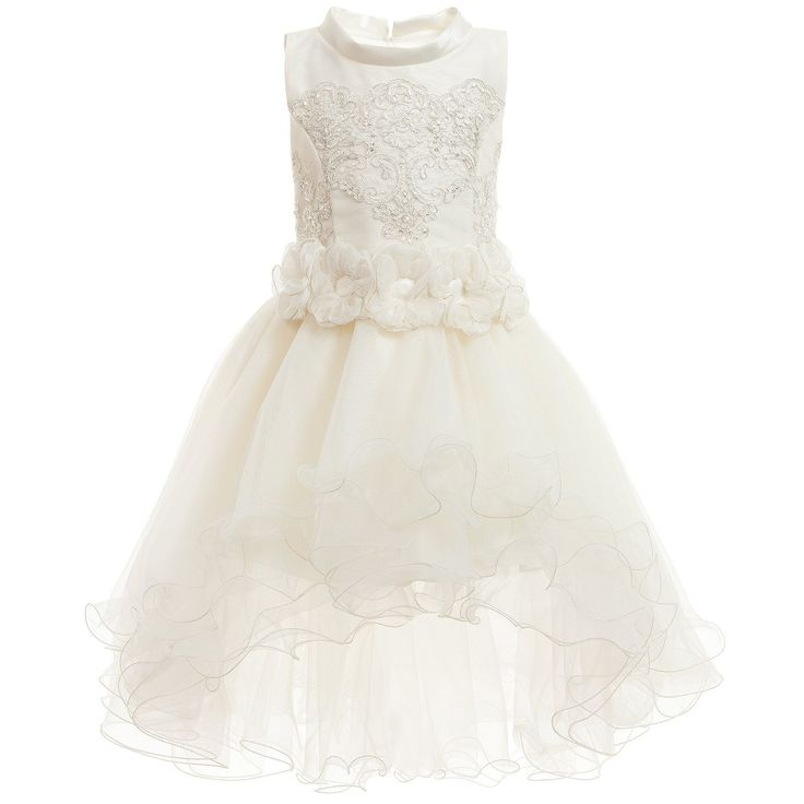 Ladia Ivory Tulle Dress with Embroidery & Flowers  at Childrensalon.com