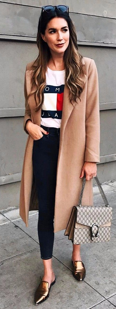 Tommy Jeans top   camel coat   Gucci = perfect business attire