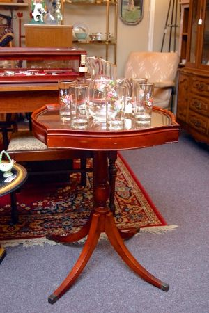 Mahogany Table W Glass Top At Greshamantiques Antiques Gresham Lake In