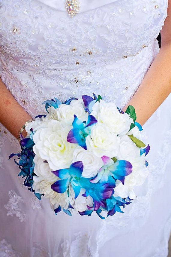 Bridal bouquet Blue dendrobium orchids roses by UYFlowersByNicole, $145.00