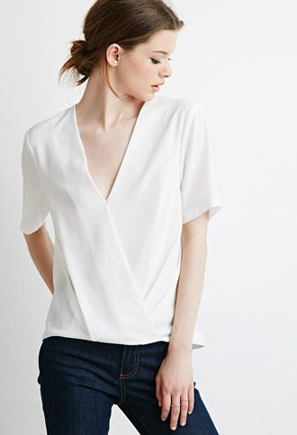 Pleated Surplice Top | LOVE21 | #f21contemporary