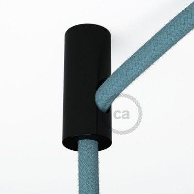 Decentratore, gancio a soffitto nero per cavo elettrico tessile con fermo.