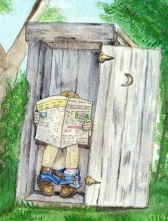 Outhouse Watercolor Print Bathroom Art Occupied Outdoor Toilet