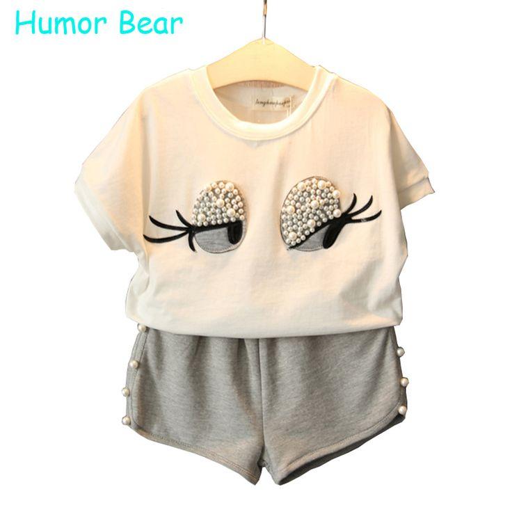 Humor bear cô gái quần áo đặt ngọc trai cô gái quần áo set đáng yêu Lông Mi dài Toddler Girl đỉnh + Quần Cô Gái Suit Kids quần áo