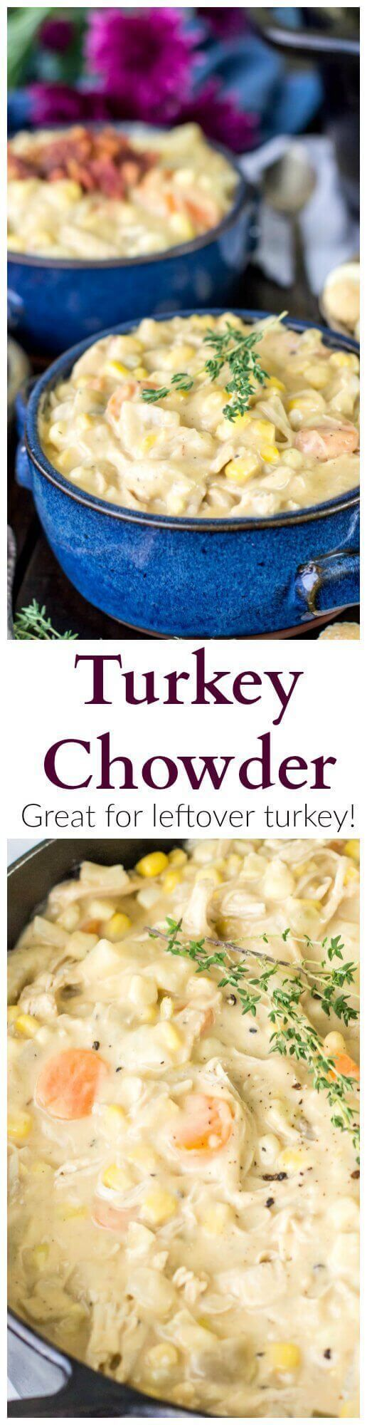 A creamy, simple, hearty turkey chowder that doubles as a great way to use up leftover turkey. I am very easily motivated and appeased by food.