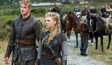 "Vikings, season 2, episode 4, ""Eye for an Eye,"" aired 20 March 2014. Bjorn Lothbrok is played by Alexander Ludwig and Lagertha is played by Katheryn Winnick."