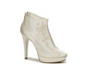 Bej Tül İşlemeli Gelin Ayakkabısı-37