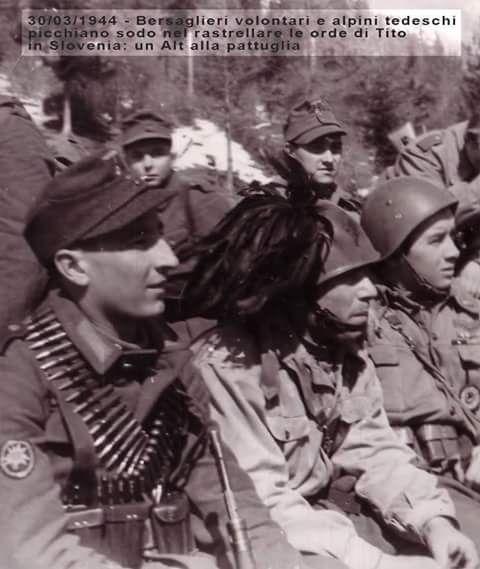 In difesa del fronte orientale contro gli Jugoslavi di Tito c'erano il Battaglione Xa Flottiglia MAS, il Reggimento Volontari Alpini del Tagliamento e 8 Reggimento 1 Battaglione Bersaglieri Volontari B . Mussolini. A loro fianco c'erano le truppe Volontarie della Wehrmacht, i cosiddetti Alpen Korps, che avevano la Stella Alpina come Mostrina. Rendiamo Onore a chi morì in combattimento e a chi non tornò da quei campi di Gloria per non Dimeticare il loro Sacrificio.