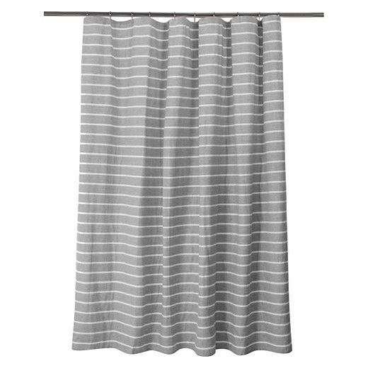 Update your bathroom with the Threshold Double Cloth Stripe Shower Curtain.  Its radiant gray base contrasts perfectly with horizontal white stripes.  If you're looking for a simple yet stylish feel, look no further.