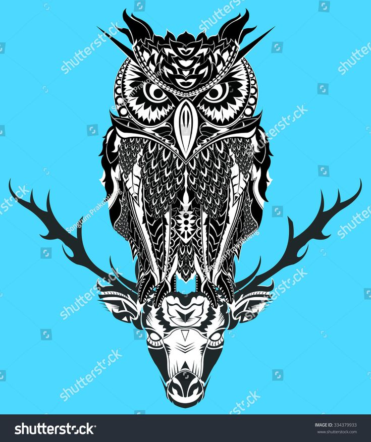 owl and deer element vector illustration