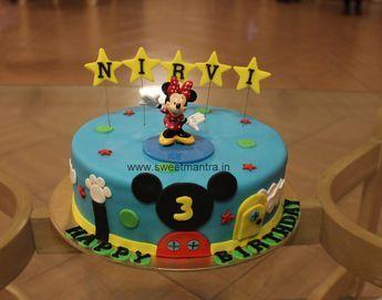 Homemade Eggless 3D/Custom Disney Minnie club house theme 3rd birthday cake for girl at Baner, Pune