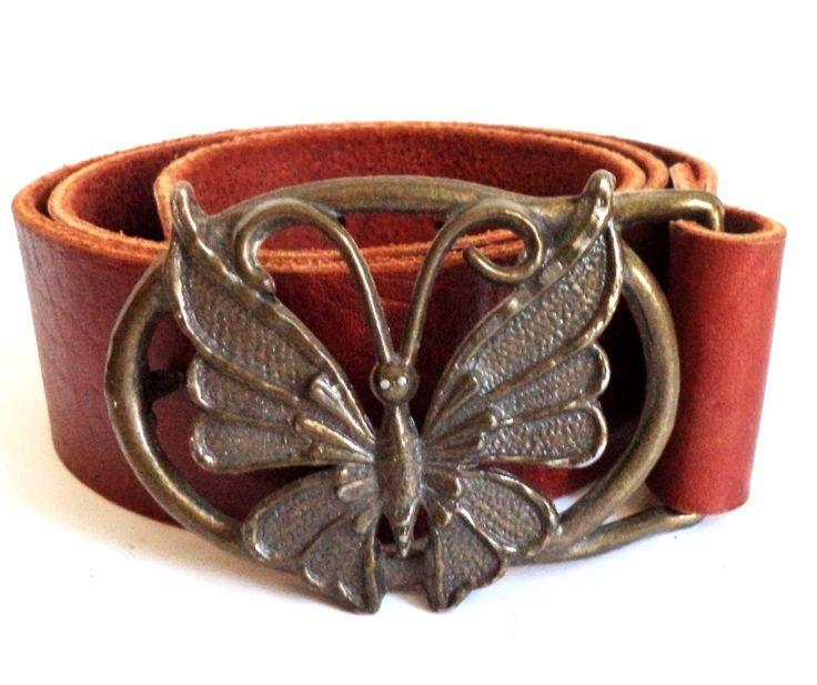 Boho Butterfly Belt, Tan Leather Belt, Womens Boho Belt, Artisan, Christmas Gift, Fairy, Bronze, Small, Medium, Rustic Hippie Gift by MushkaVintage3 on Etsy