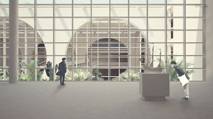Gabriele De Giovanni - View on courtyard of Arsenale's Sea Museum in Palermo - Rhino>Cinema4D+vRay>Photoshop