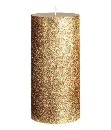 Large Pillar Candle | Gold-colored/glittery | H&M HOME | H&M US