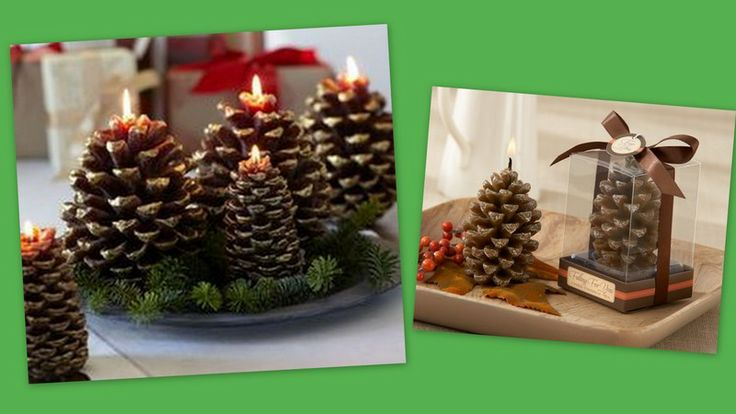 Christmas pine cone candle centerpiece favors