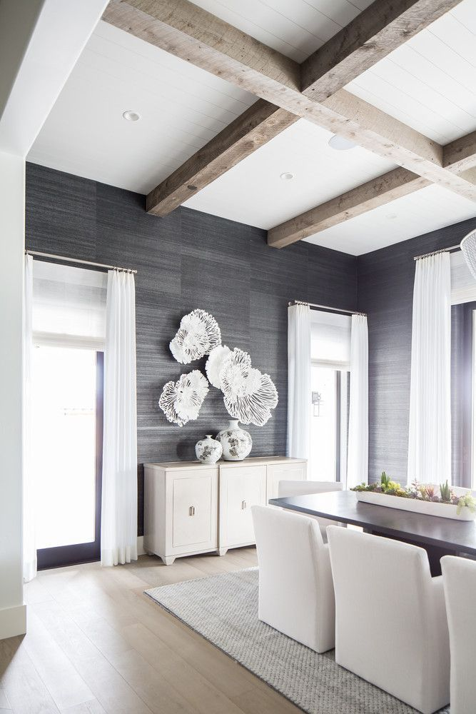 Dark Gray Wallpaper In The Dining Room With Clean Modern Furniture Minimalist Dining Room Dining Room Wallpaper Dining Room Design