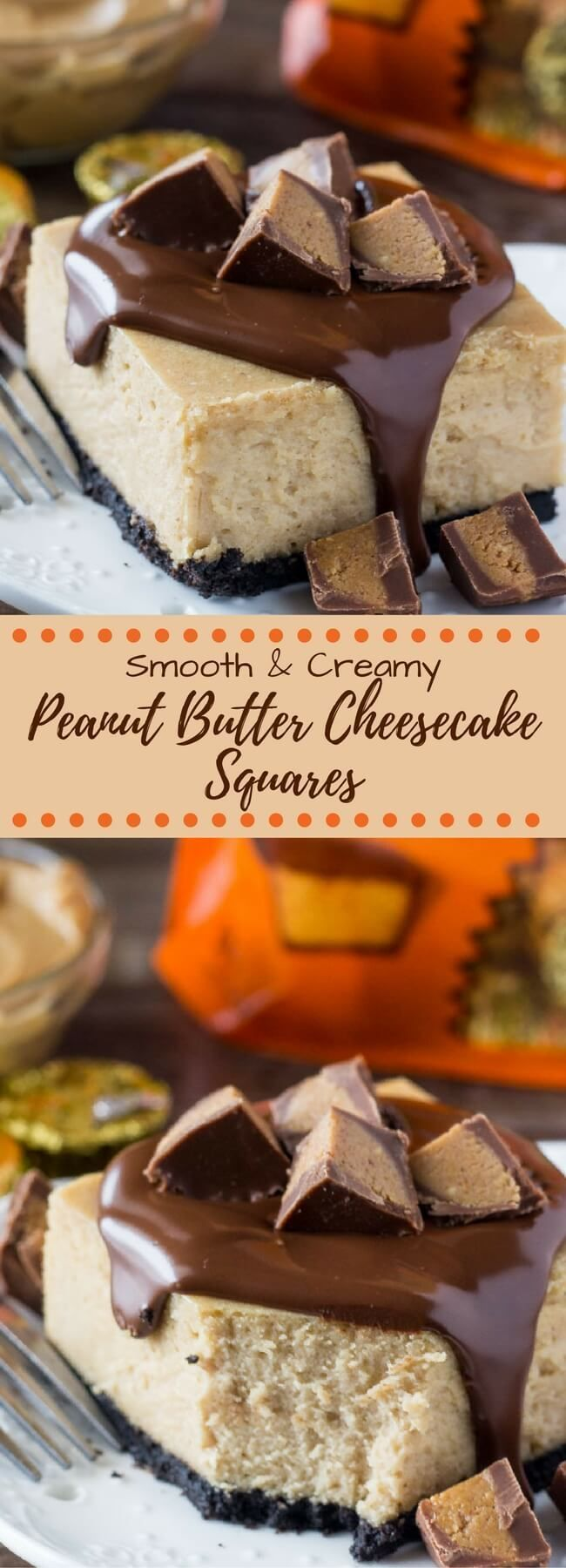 These Peanut Butter Cheesecake Squares have a crunchy Oreo crust & TONS of creamy peanut butter goodness for all the peanut butter lovers