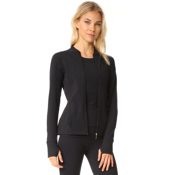 Beyond Yoga x Kate Spade New York Madison Bow Jacket (228 AUD) ❤ liked on Polyvore featuring outerwear, jackets, jet black, beyond yoga, zip jacket, zipper jacket, beyond yoga jacket and high collar jacket