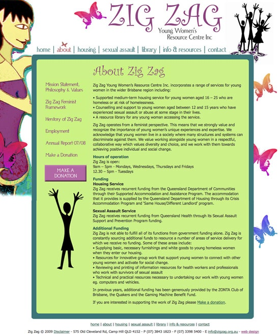 Web design for Zig Zag - Young Women's Resource Centre | Providing support for young women who are homeless or who have suffered sexual assault.