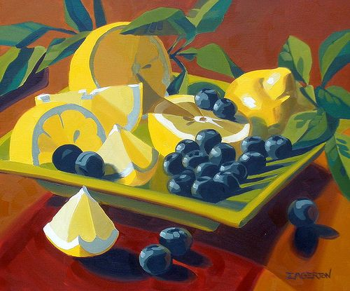 """Leigh-Anne Eagerton """"Lemon and Blueberries oil painting"""""""