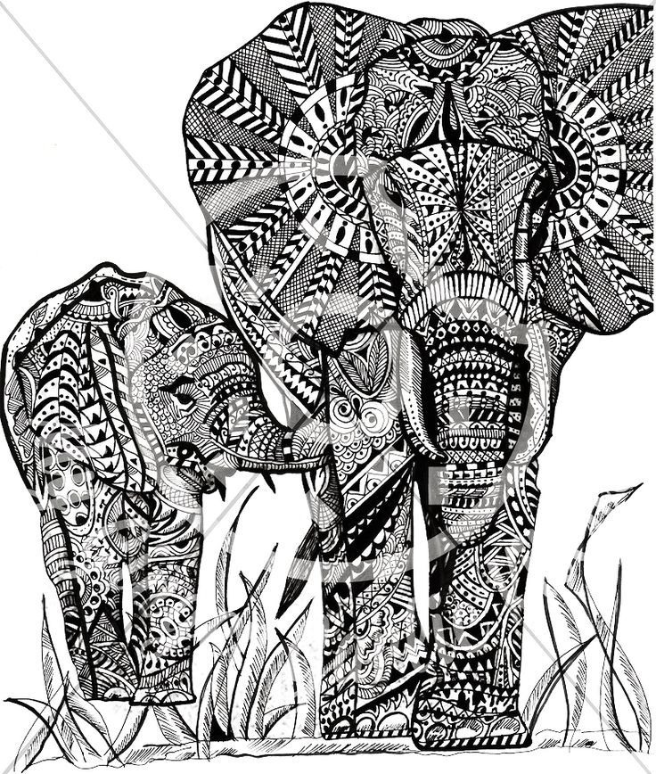 Majestic Elephant | Free hand drawn zentangle wall art