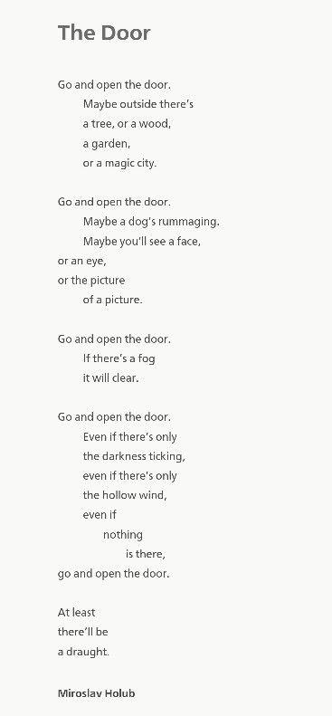'The Door' - Miroslav Holub