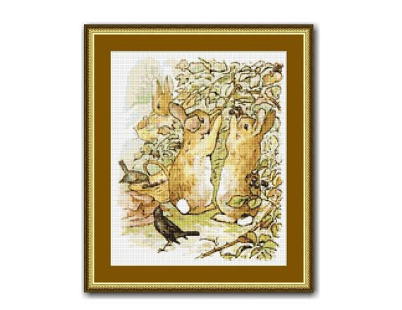 "The Tale of Peter Rabbit #5 Cross Stitch Chart / Pattern, ""Gathering Blackberries"", Beatrix Potter, Instant Download (TPR005)"