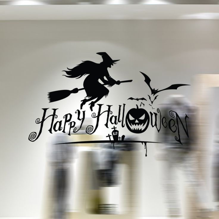 >> Click to Buy << aw9427 Creative Cartoon Halloween Witch Broom Bat Living Room Wall DIY Removable Vinyl Wall Stickers TV Wall Sofa Background #Affiliate