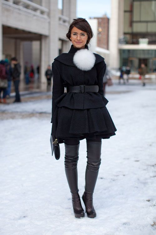 Miroslava Duma is a master of surprise pieces like this fur pouf  Street Style Fall 2013 - New York Fashion Week Street Style