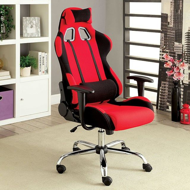 """HELIUM RED OFFICE CHAIR - CM-FC633RD Description: Reduce stress at work with this modern inspired reclining Offi ce Chair. Constructed of soft cloth and deluxe foam padding, this piece will carefully conform to any body style while eff ortlessly enhancing seat ease. Features :  Contemporary Style Racing Inspired Design Adjustable Back Rest Chrome Legs Fabric Available in 2 Colors Dimension:  Office Chair: 26 1/2""""W X 25 1/2""""D X 50 1/4""""H (UP TO 53 1/4""""H)"""