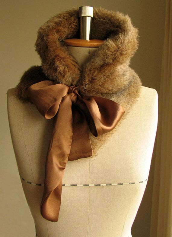 Faux fur collar neck warmer with bow - but with real rabbit or mink