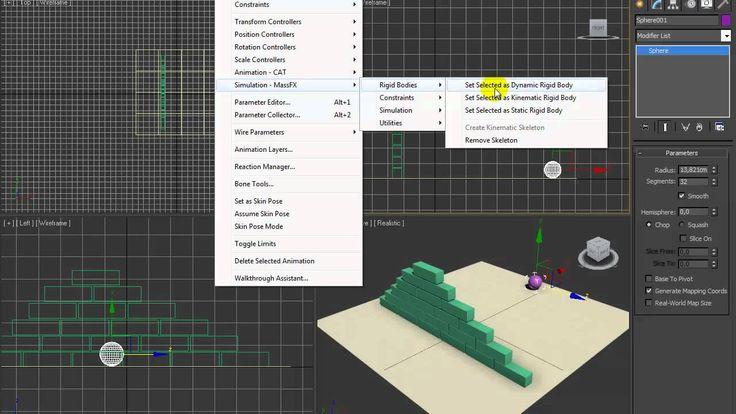 Videotutorial Autodesk 3dsmax - #22 Mass fx basic 1 Collition of dynamic...