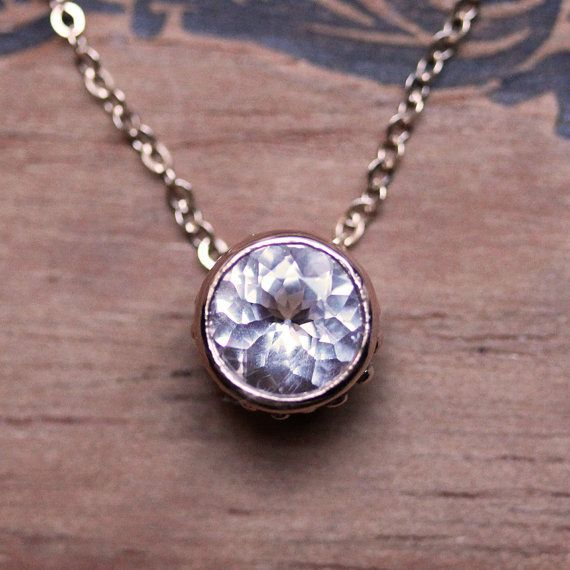 Morganite necklace  14k rose gold  solitaire by metalicious, $520.00
