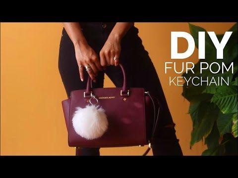 DIY Fur Pom Keychain - YouTube
