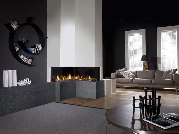 Faber Respect Premium IC #hoekhaard #gashaard - open haarden ideeën   UW-haard.nl