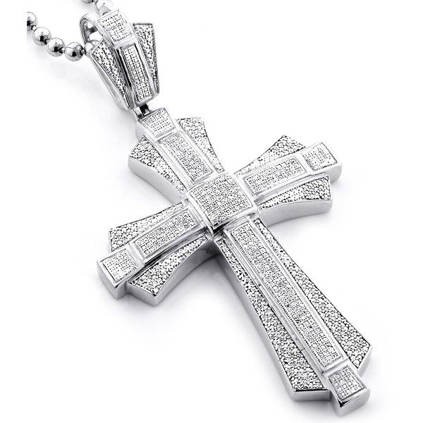 Luxurman Sterling Silver Men's 1 1/6ct TDW Diamond Cross Micro Pave... ($658) ❤ liked on Polyvore featuring men's fashion, men's jewelry, men's necklaces, white, mens crucifix necklace, mens necklaces, mens diamond necklace, mens sterling silver cross pendant and mens white gold necklace