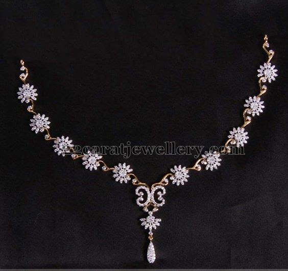Jewellery Designs: Delicate and Fancy Floral Diamond Set