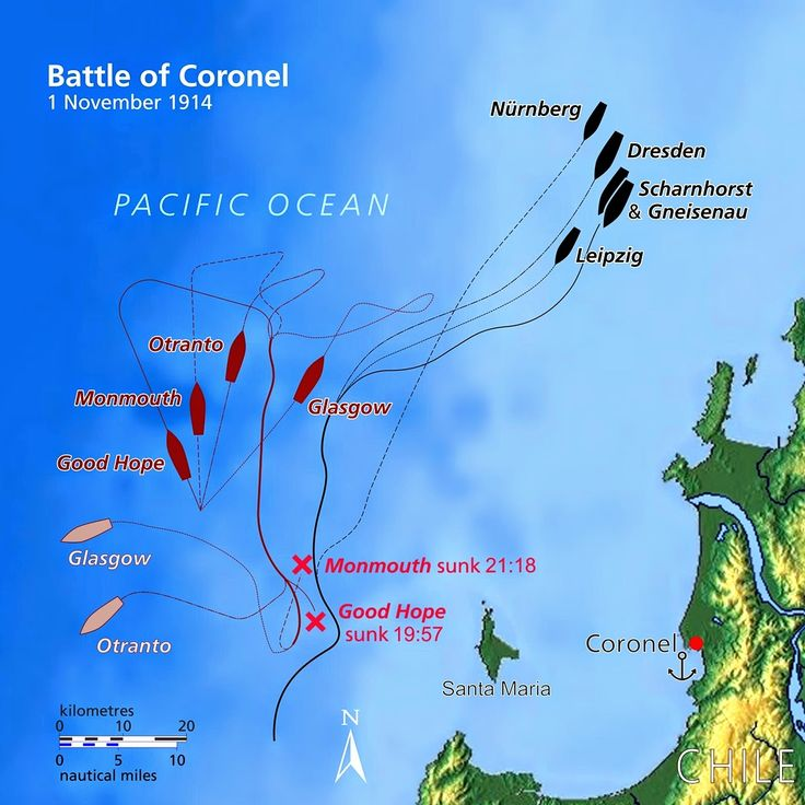 A very clear map of the Battle of Coronel. The Centenary Commemoration is coming up fast.Read all about it in this post and my eBook on Kindle.