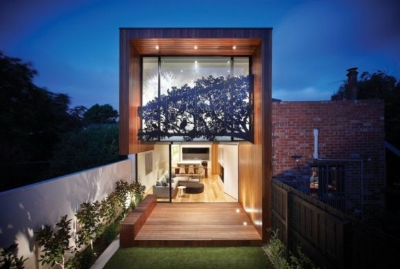 """Residential Architecture: Nicholson Residence by Matt Gibson Architecture + Design: """"Australian architectMatt Gibsondesigned the Nicholson Residence in Melbourne, Australia…This renovation involved the renovation of a Federation single fronted terrace (house) within a heritage overlay including the provision of a series of first floor level spaces that cantilever deep into a previously treed rear of the site."""