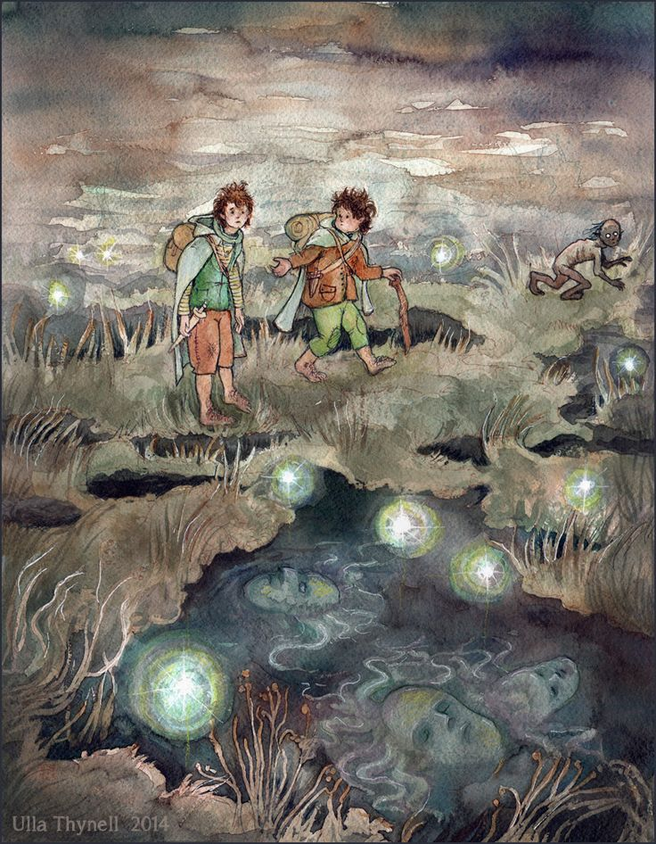 I really love Ulla Thynell's whimsical, and charming style - her view of MiddleEarth is endearing! § Dead Marshes by ullakko.deviantart.com on @deviantART