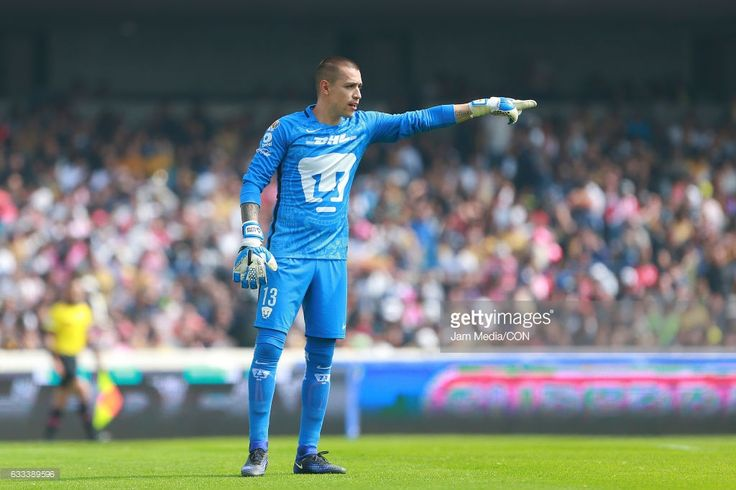 Alfredo Saldivar, goalkeeper of Pumas gives directions to the team during the 4th round match between Pumas UNAM and Necaxa as part of the Torneo Clausura 2017 Liga MX at University Olympic Stadium on January 29, 2017 in Ciudad de Mexico, Mexico.