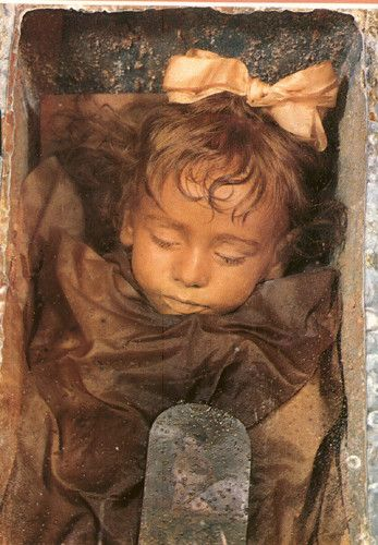 Mummified 2 Year old child; died in 1920 of pneumonia, in the Catacombs of Palermo