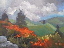 Carol Schiff | Mountain Wildflower Maľovanie, Malý olejomaľba, Daily Painting, 6x8 olejomaľba