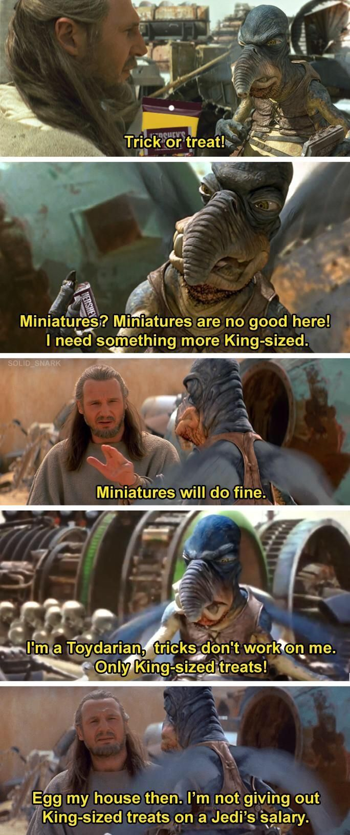 Tricks Don T Work On Me Only Treats Prequelmemes Star Wars Comics Star Wars Jokes Star Wars Humor