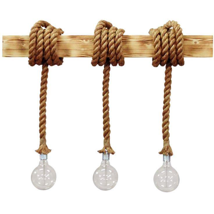 Φωτιστικό ράγα ξύλινη 3φωτη με σχοινί μανίλα